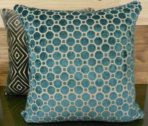 Velvet Decorative Pillow Covers : Dark turquoise velvet decorative pillow cover by pillowflightpdx