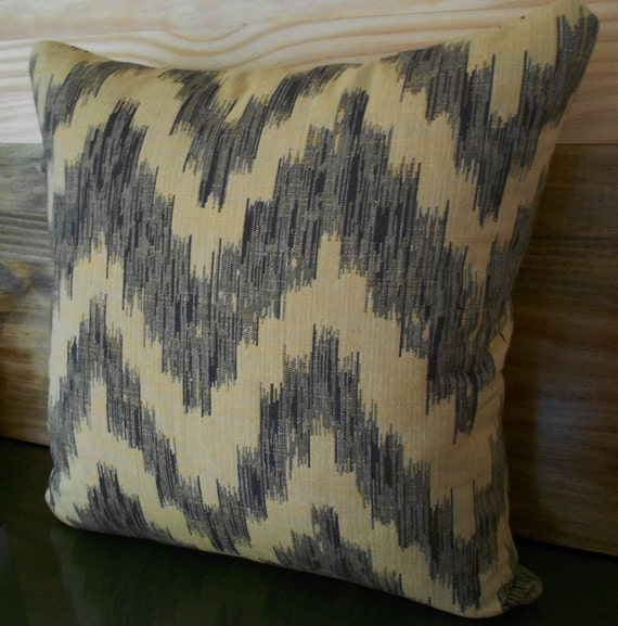 Grey blue ikat chevron decorative pillow, throw pillow