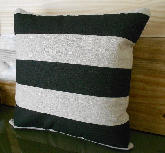 Black and tan striped decorative pillow cover by pillowflightpdx