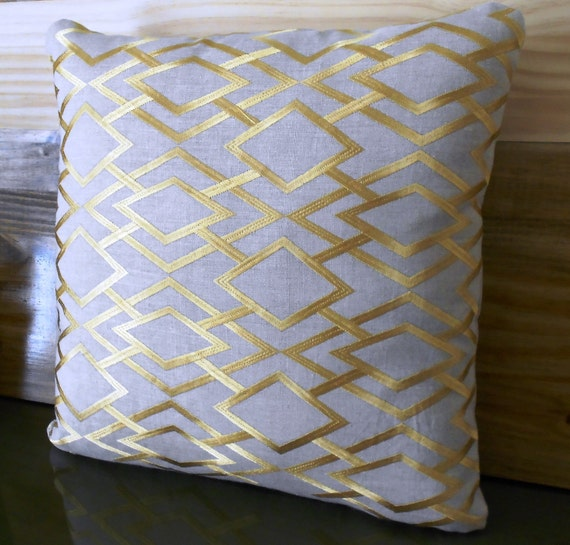 Gold embroidered trellis decorative pillow cover