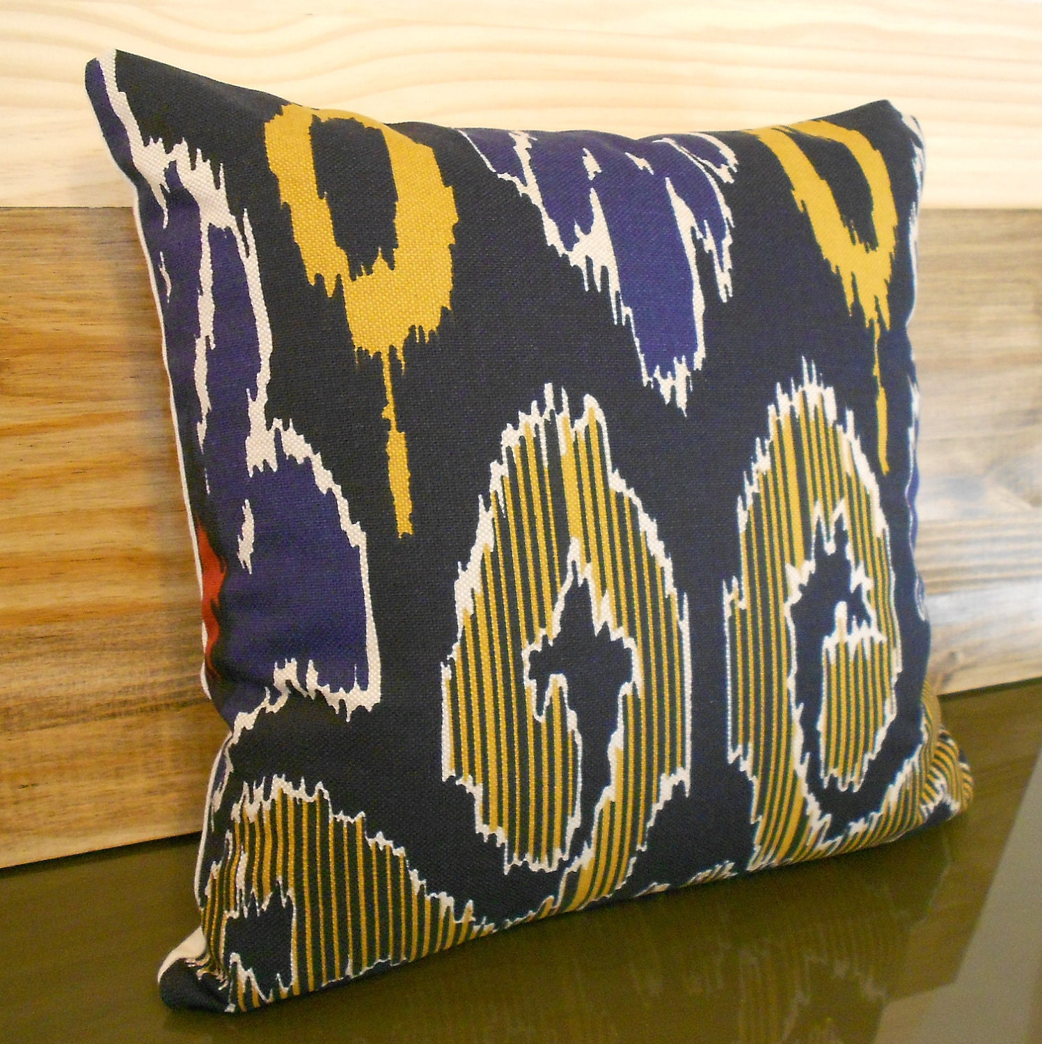 Ikat decorative pillow cover navy yellow and red