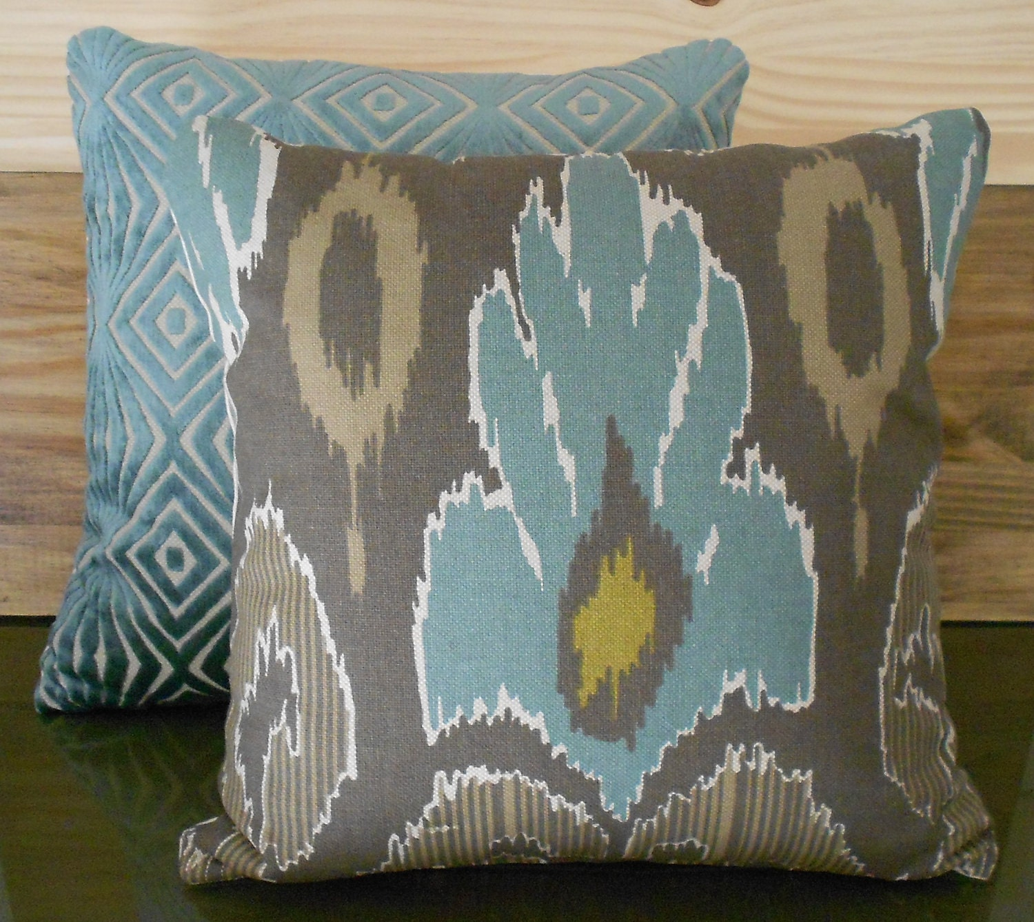 Pair Of Ikat Decorative Pillow Covers Spa Teal Blue Brown