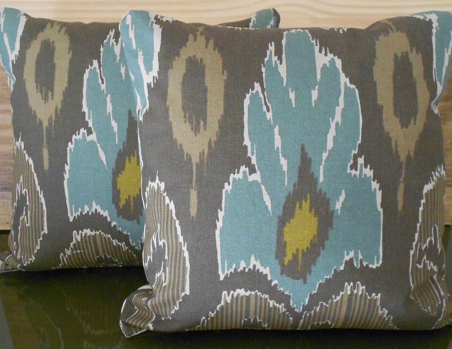 Decorative pillows with blue brown and yellow - Pair Of Ikat Decorative Pillow Covers Spa Teal Blue Brown