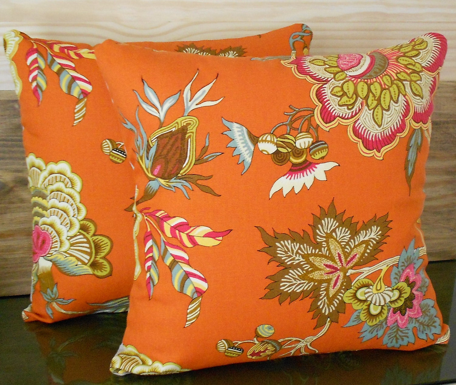 Pair of orange throw pillows multi color orange by pillowflightpdx