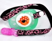 Pacifier / dummy clip Baby Punk Rockabilly Pink and Black damask print