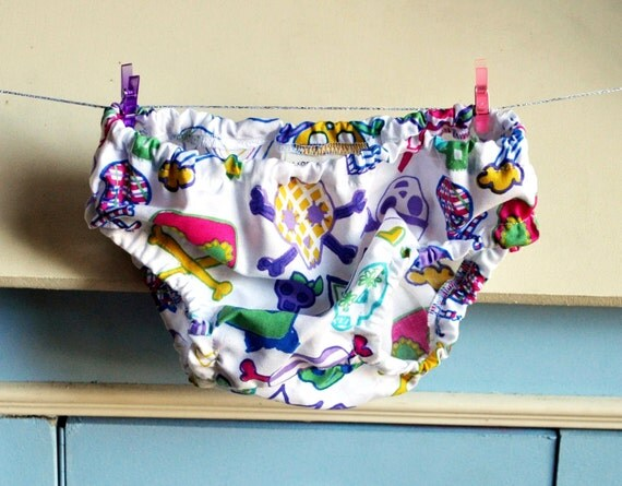 Cute Skull Diaper/Nappy Cover - Size 3-6 months