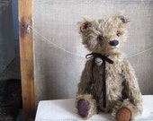 Artist Teddy Bear Rony OOAK rustic brown beige dark 13 inches RESERVED until 20 December