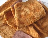Vintage brown orange spotted Plush (viscose) for making aged teddy bears