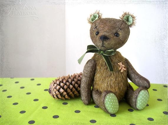 Artist Teddy Bear T.Shihkin OOAK navy green brown