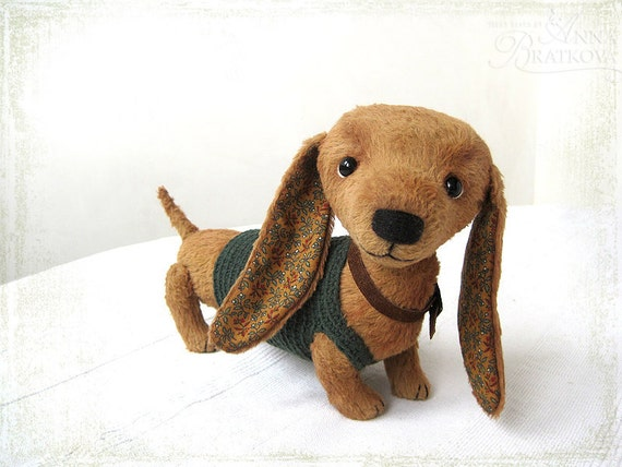 Artist Teddy dachshund Doxie OOAK rude brown TO ORDER for Karen