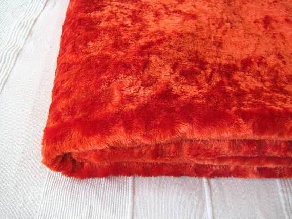 Vintage orange curly pile Plush (viscose) for making aged teddy bear or fox