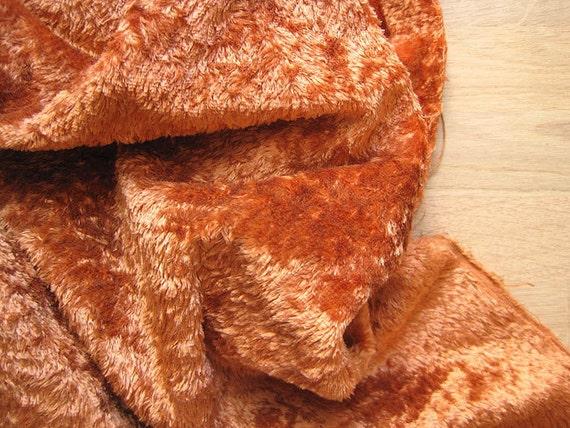 Vintage orange-brown Plush (viscose) for making aged teddy bear or toy