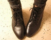 Black leather ankle boots 7.5 m