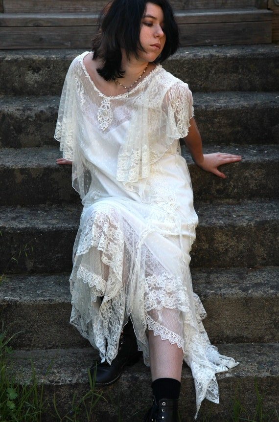 RESERVED Beautiful Vintage Flapper Style White Lace and Pearl Wedding Dress