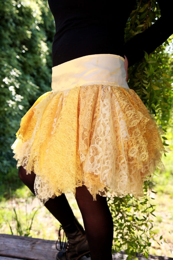 Women's Medium Summer Sun Yellow Lace Tutu Skirt