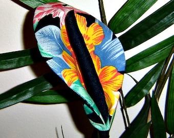 Fabric Flowers - Tropical Print Lillies  (5 Stems)