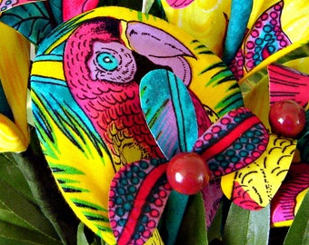 Fabric Flowers - Vibrant Tropical Lillies (5 Stems)
