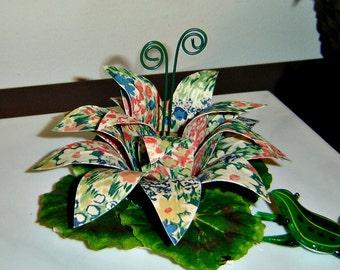 Fabric Flower - Orange, Blue & Green Floral Table Decor