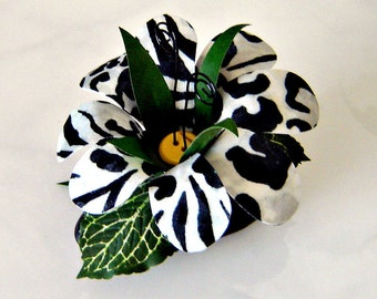 Fabric Flower on River Rock Paperweight  / Table Decor - Black & White Animal Print
