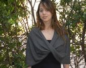 Dark grey circle scarf (4 options shawl, shrug, twisred shawl and infinity scarf)