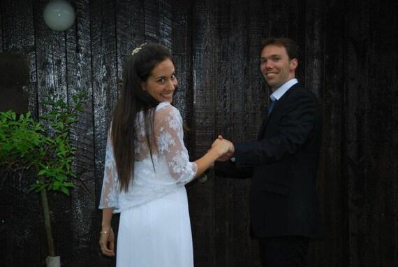 Rustic wedding shrug for bride, white lace. 4-options shawl, shrug, twist and scarf, bridal cover up, bridal bolero (NS102)
