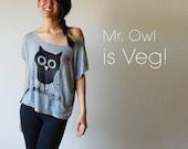 Veg Peace Clothing: Grey-Owl Top (Size L)
