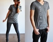 Vegan / Veg Shirt - Unisex B&W Mesh V-Neck T-shirt ( Size XS / S / M )