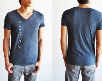 Vegan / Veg Shirt: Unisex Dark Blue Grey V-Neck Shirt (Size S / M )