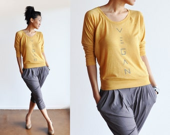 Vegan Clothing: Gold Loose Long Sleeve Top ( Size M / L )