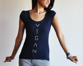 Vegan Clothing : Navy Blue Top ( Size 10 / 12)