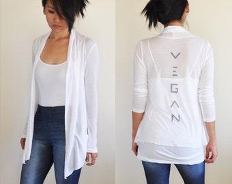 Vegan Clothing: White Open Neck Shawl Top ( Sizes S / M )