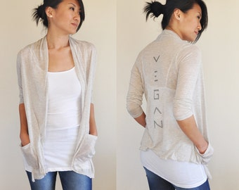 Vegan Clothing: Oatmeal Open Neck Shawl Top ( Sizes S / M / L )