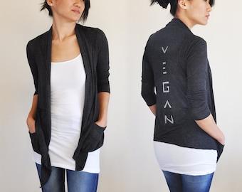 Vegan Clothing: Charcoal Open Neck Shawl Top