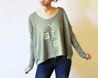 Veg Peace Clothing - Organic Recycled Grey Green Angie Top (Size M )