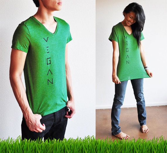 Vegan / Veg Clothing : Unisex Grass Green V-Neck Shirt ( Size XS )