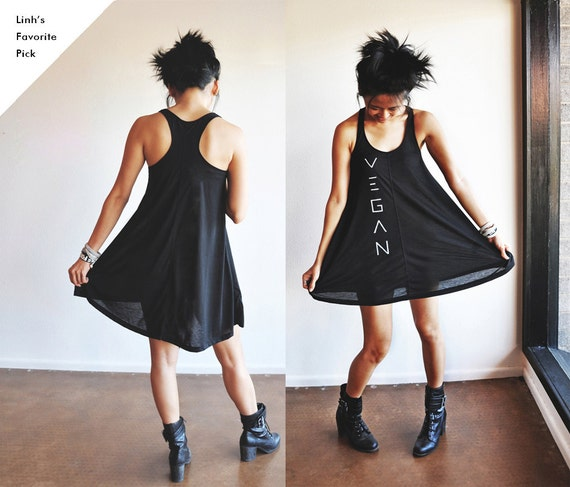 Vegan Clothing : Black Baby Doll Jersey Dress (Size S)