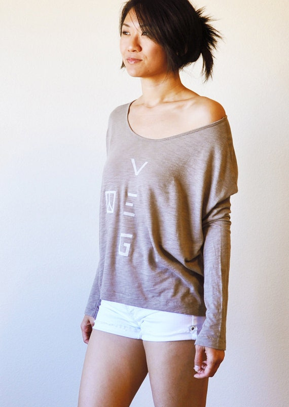 Veg Peace Clothing: Organic Blend - Taupe Oversize Angie Top ( Size L )