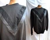 VTG mixed media Black Sweater Jumper Large Genuine Leather V Trim 80s 90s Jumper large
