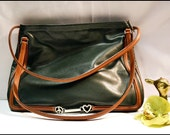 Vintage Moschino Heart Peace Bag Purse Shoulder Tote Dark Green Leather Brown Trim