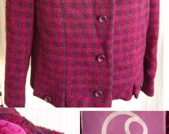Vintage Purple Mod 60s Irish Tweed Suit Beautiful Set by Donegal