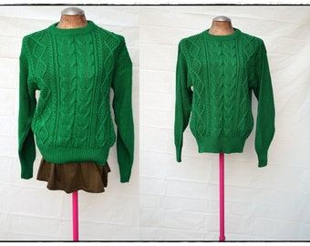 Vintage Kelly green Cable Knit Sweater Jumper