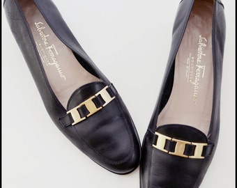 Vintage Salvatore Ferragamo Black Leather Shoes 8AAA Narrow Width Shoes