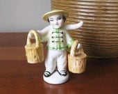 Vintage Chinese Boy with Water Buckets Salt & Pepper Shakers - 3-Piece Set - Occupied Japan