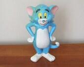 Vintage Tom & Jerry Cat Figurine Turquoise Blue Cartoon Character - Vintage Blue Tom Cat Figurine