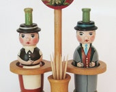 Wood Man & Woman Salt and Pepper Shakers - Vintage German Folk Art - Mechanical