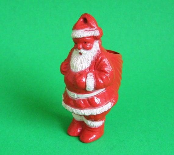 Vintage 1950's Santa Claus Candy Container Tree Ornament Figurine Mid Century Retro Antique Christmas Decoration Decor