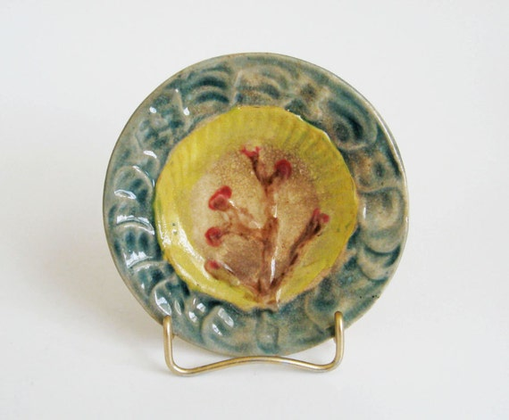 Antique Victorian Majolica Butter Pat - Shell & Seaweed