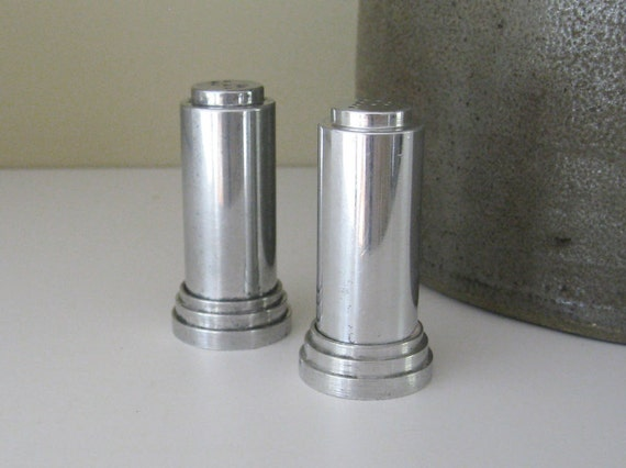 Art Deco Cylinder Salt & Pepper Shakers - Sleek, Minimalist, Industrial