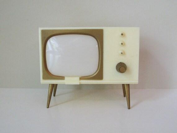 1950's Retro White TV Salt & Pepper Shakers and Photo Holder - Mechanical - Mid Century Modern