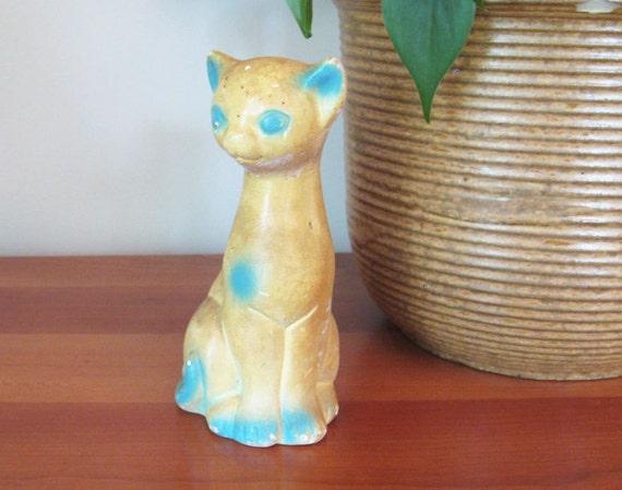 Vintage Chalkware Cat with Turquoise Blue - Blue Cat - Siamese Cat - Vintage Cat Figurine